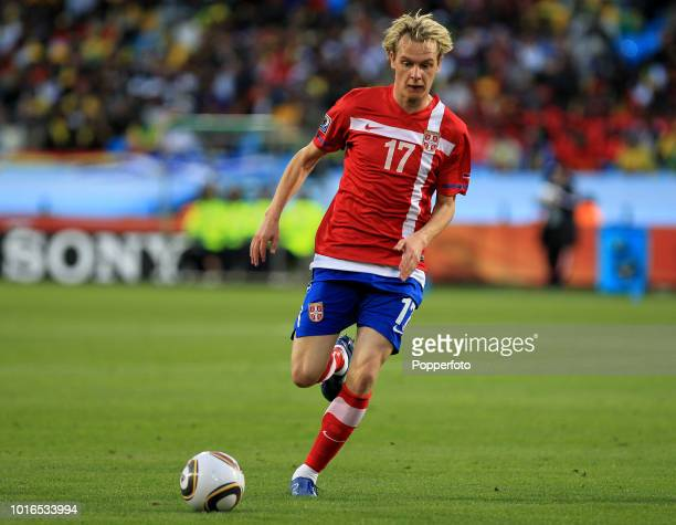 Milos Krasic of Serbia in action during the 2010 FIFA World Cup Group D match between Serbia and Ghana at Loftus Versfeld Stadium in Pretoria, South...