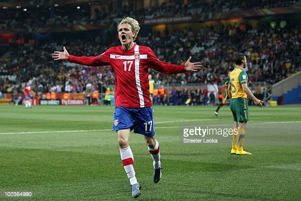 Milos Krasic of Serbia reacts to missing a shot on goal during the 2010  FIFA World c464823e92615