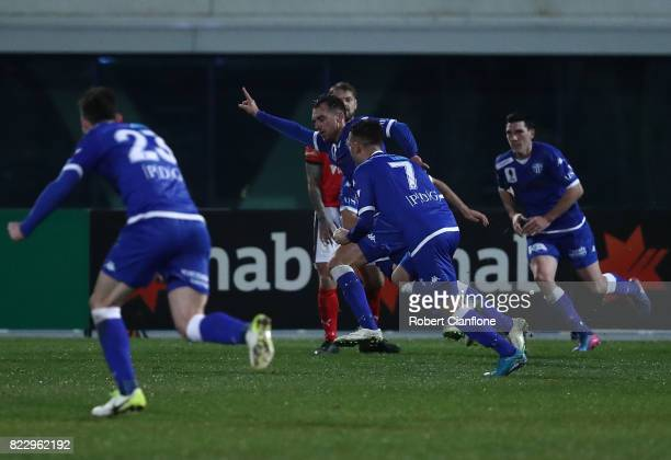 Milos Lujic of South Melbourne celebrates after scoring a goal during the FFA Cup round of 32 match between South Melbourne and Edgeworth FC at...
