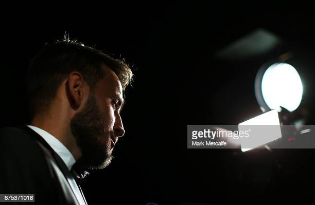 Milos Ninkovic arrives ahead of the FFA Dolan Warren Awards at The Star on May 1 2017 in Sydney Australia