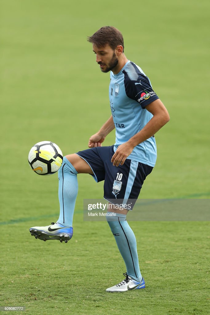 Milos Ninkovic controls the ball during a Sydney FC A-League training session at Macquarie Uni on March 2, 2018 in Sydney, Australia.