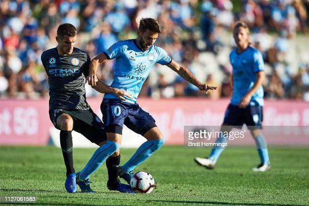Milos Ninkovic of Sydney controls the ball during the round 17 ALeague match between Sydney FC and Melbourne City at WIN Jubilee Stadium on February...