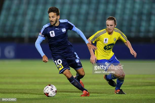 Milos Ninkovic of Sydney controls the ball during the round of 16 FFA Cup match between the Bankstown Berries and Sydney FC at Sydney United Sports...
