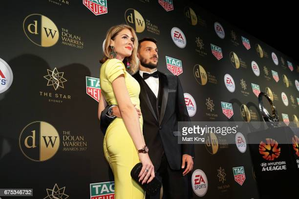 Milos Ninkovic of Sydney FC and partner Misa Radovic arrive ahead of the FFA Dolan Warren Awards at The Star on May 1 2017 in Sydney Australia