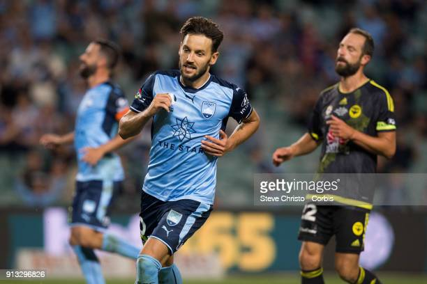 Milos Ninkovic of Sydney FC celebrates after scoring his goal during the round 19 ALeague match between Sydney FC and the Wellington Phoenix at...