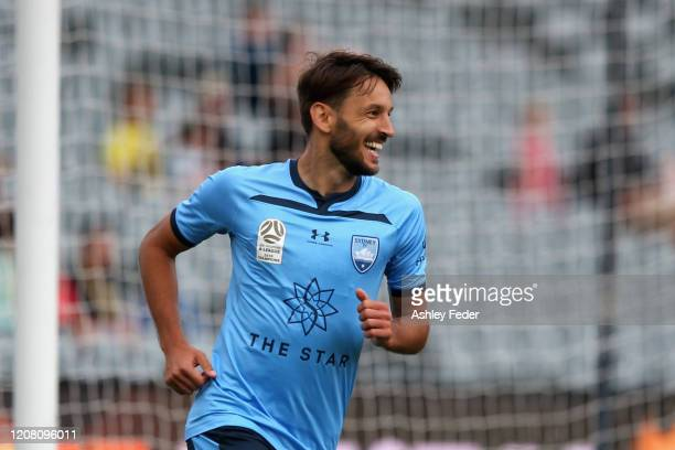 Milos Ninkovic of Sydney FC celebrates his goal during the round 20 ALeague match between the Central Coast Mariners and Sydney FC at Central Coast...