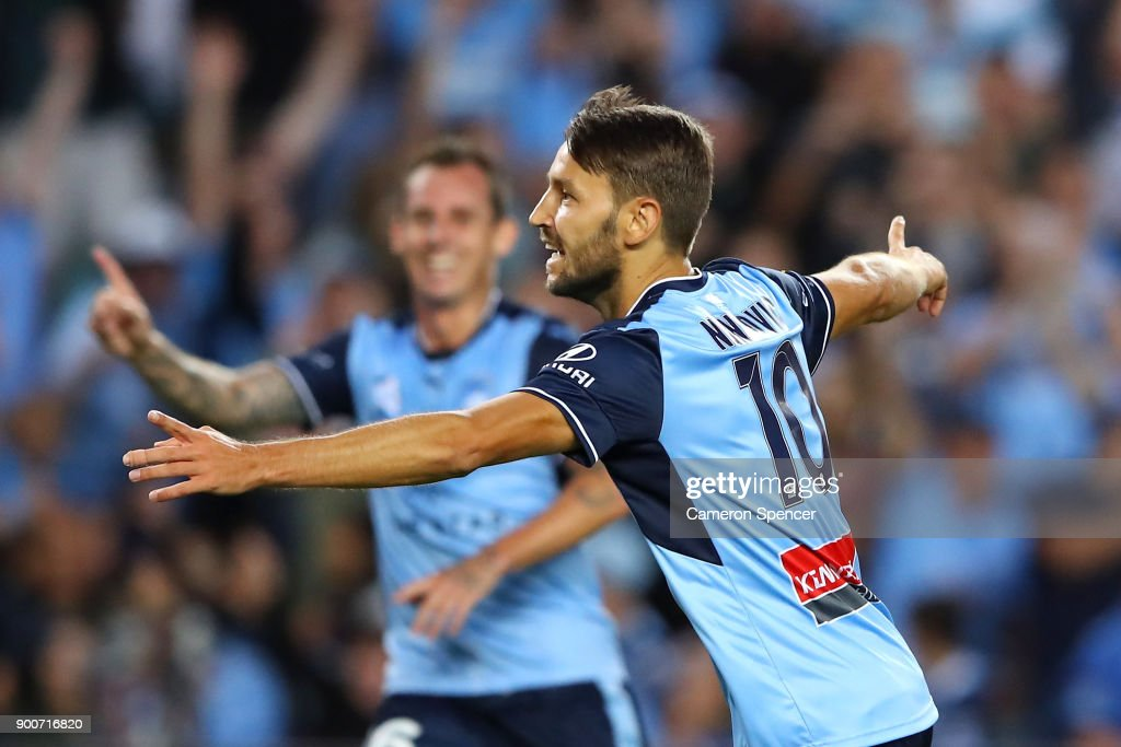 Milos Ninkovic of Sydney FC celebrates kicking a goal during the round 14 A-League match between Sydney FC and the Newcastle Jets at Allianz Stadium on January 3, 2018 in Sydney, Australia.