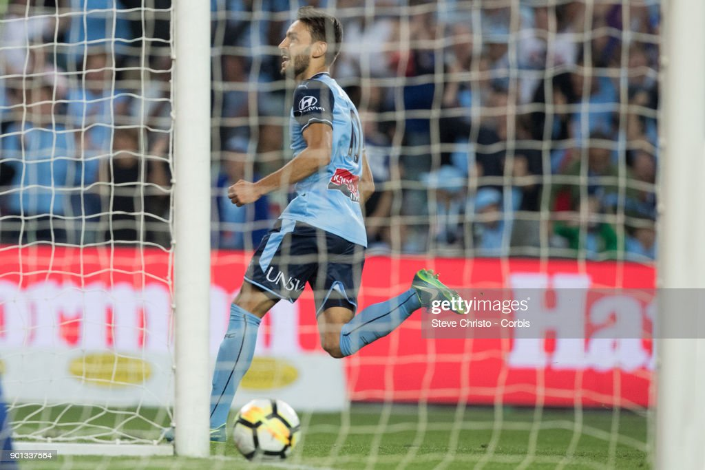 Milos Ninkovic of Sydney FC celebrates kicking a goal during the round fourteen A-League match between the Sydney FC and Newcastle Jets FC at Allianz Stadium on January 3, 2018 in Sydney, Australia.