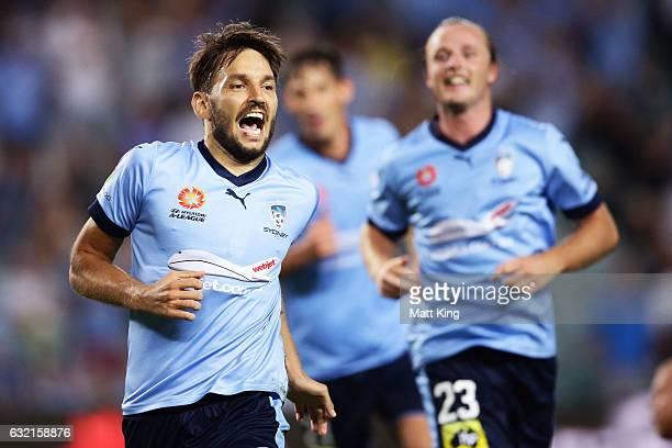 Milos Ninkovic of Sydney FC celebrates scoring a goal during the round 16 ALeague match between Sydney FC and Adelaide United at Allianz Stadium on...