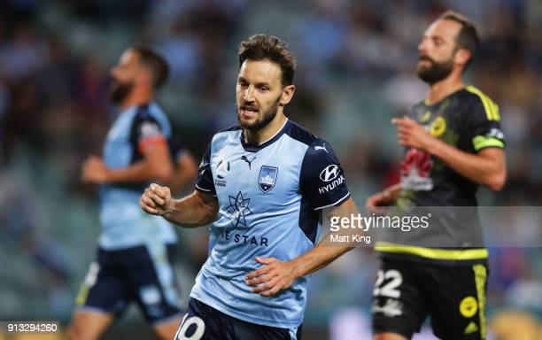 Milos Ninkovic of Sydney FC celebrates scoring a goal during the round 19 ALeague match between Sydney FC and the Wellington Phoenix at Allianz...