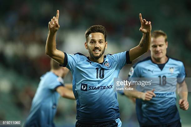 Milos Ninkovic of Sydney FC celebrates scoring a goal during the AFC Champions League match between Sydney FC and Pohang Steelers at Allianz Stadium...