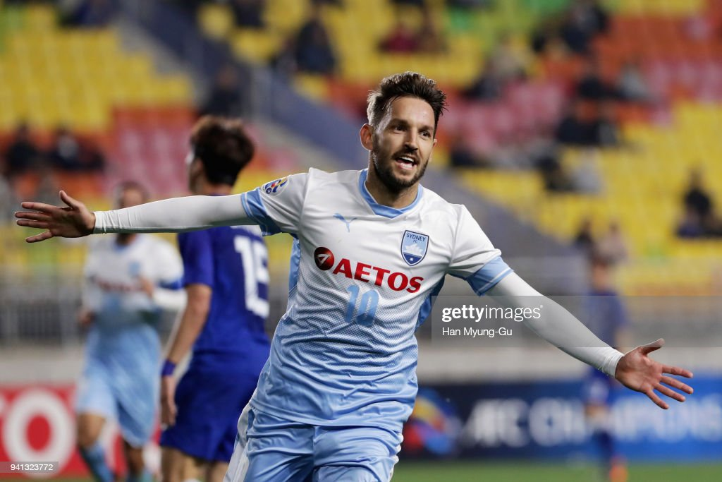 Milos Ninkovic of Sydney FC celebrates scoring the opening goal during the AFC Champions League Group H match between Suwon Samsung Bluewings and Sydney FC at Suwon World Cup Stadium on April 3, 2018 in Suwon, South Korea.