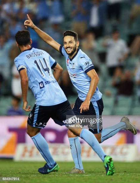 Milos Ninkovic of Sydney FC celebrates with Alex Brosque of Sydney FC after scoring a goal during the round 19 ALeague match between Sydney FC and...