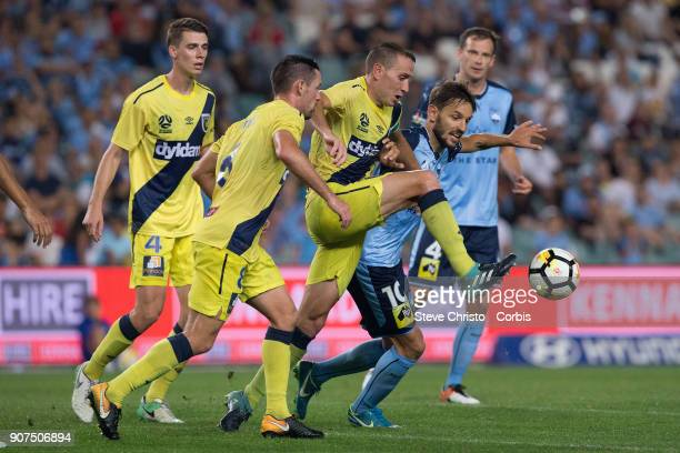 Milos Ninkovic of Sydney FC challenges Mariners Alan Baro Calabuig for the bal during the round 17 ALeague match between Sydney FC and the Central...
