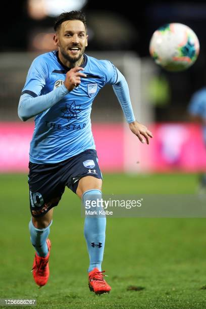 Milos Ninkovic of Sydney FC chases the ball during the round 21 A-League match between Sydney FC and the Wellington Phoenix at Netstrata Jubilee...