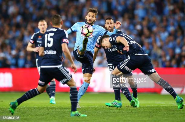 Milos Ninkovic of Sydney FC contests possession during the 2017 ALeague Grand Final match between Sydney FC and the Melbourne Victory at Allianz...