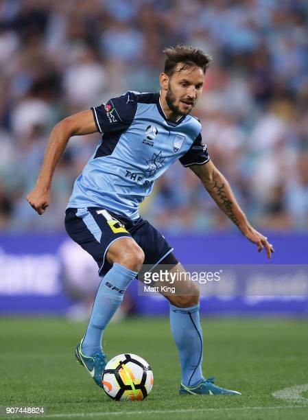 Milos Ninkovic of Sydney FC controls the ball during the round 17 ALeague match between Sydney FC and the Central Coast Mariners at Allianz Stadium...