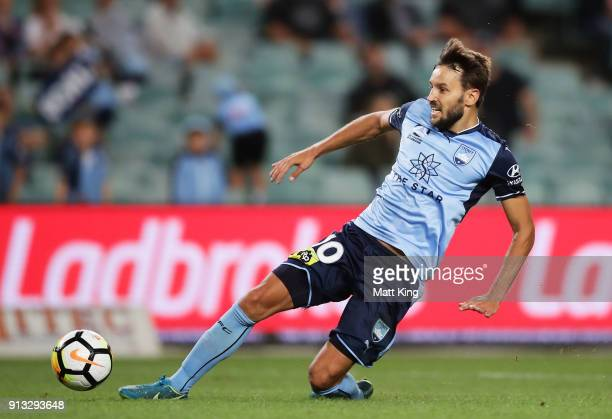 Milos Ninkovic of Sydney FC controls the ball during the round 19 ALeague match between Sydney FC and the Wellington Phoenix at Allianz Stadium on...