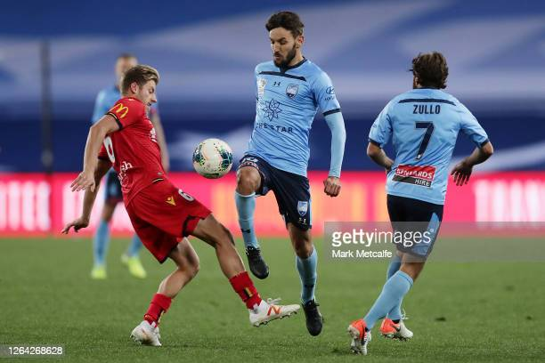 Milos Ninkovic of Sydney FC controls the ball during the round 27 A-League match between Adelaide United and Sydney FC at ANZ Stadium on August 06,...