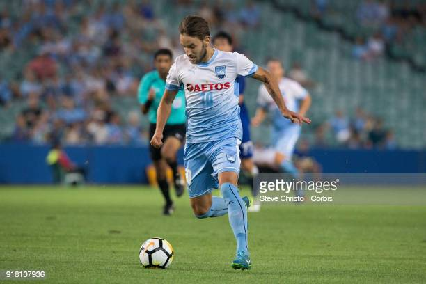 Milos Ninkovic of Sydney FC dribbles the ball during the AFC Asian Champions League match between Sydney FC and Suwon Bluewings at Allianz Stadium on...