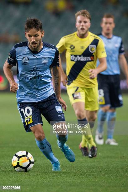 Milos Ninkovic of Sydney FC dribbles the ball during the round 17 ALeague match between Sydney FC and the Central Coast Mariners at Allianz Stadium...