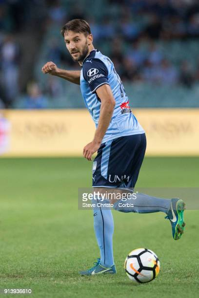 Milos Ninkovic of Sydney FC dribbles the ball during the round 19 ALeague match between Sydney FC and the Wellington Phoenix at Allianz Stadium on...