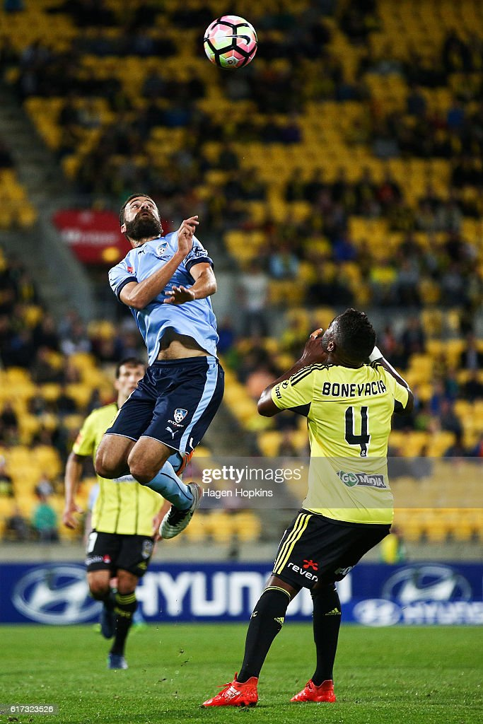 Milos Ninkovic of Sydney FC jumps for a header during the round three A-League match between the Wellington Phoenix and Sydney FC at Westpac Stadium on October 23, 2016 in Wellington, New Zealand.
