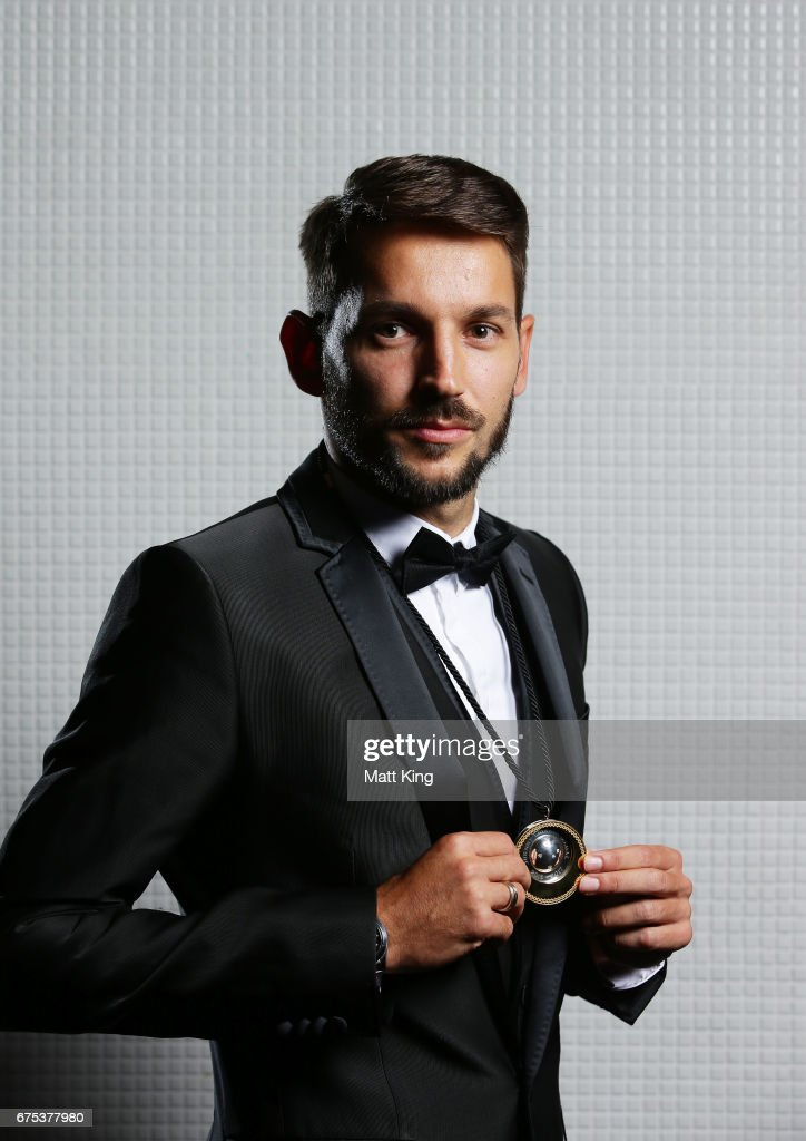 Milos Ninkovic of Sydney FC poses with the Johnny Warren Medal during the FFA Dolan Warren Awards at The Star on May 1, 2017 in Sydney, Australia.