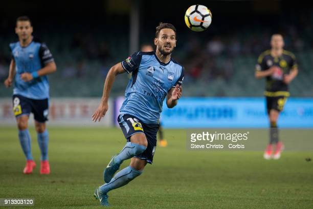 Milos Ninkovic of Sydney FC runs down the ball during the round 19 ALeague match between Sydney FC and the Wellington Phoenix at Allianz Stadium on...