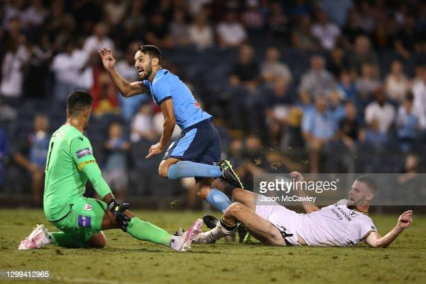 Milos Ninkovic of Sydney FC scores a goal during the A-League match between Macarthur FC and Sydney FC at Campbelltown Stadium, on January 30 in...