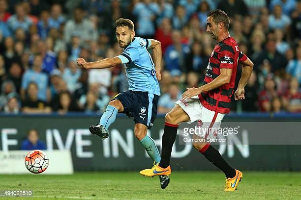 Milos Ninkovic of Sydney FC scores a goal during the round three ALeague match between Sydney FC and Western Sydney Wanderers at Allianz Stadium on...