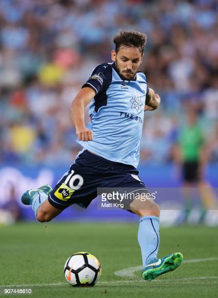 Milos Ninkovic of Sydney FC takes a shot on goal during the round 17 ALeague match between Sydney FC and the Central Coast Mariners at Allianz...