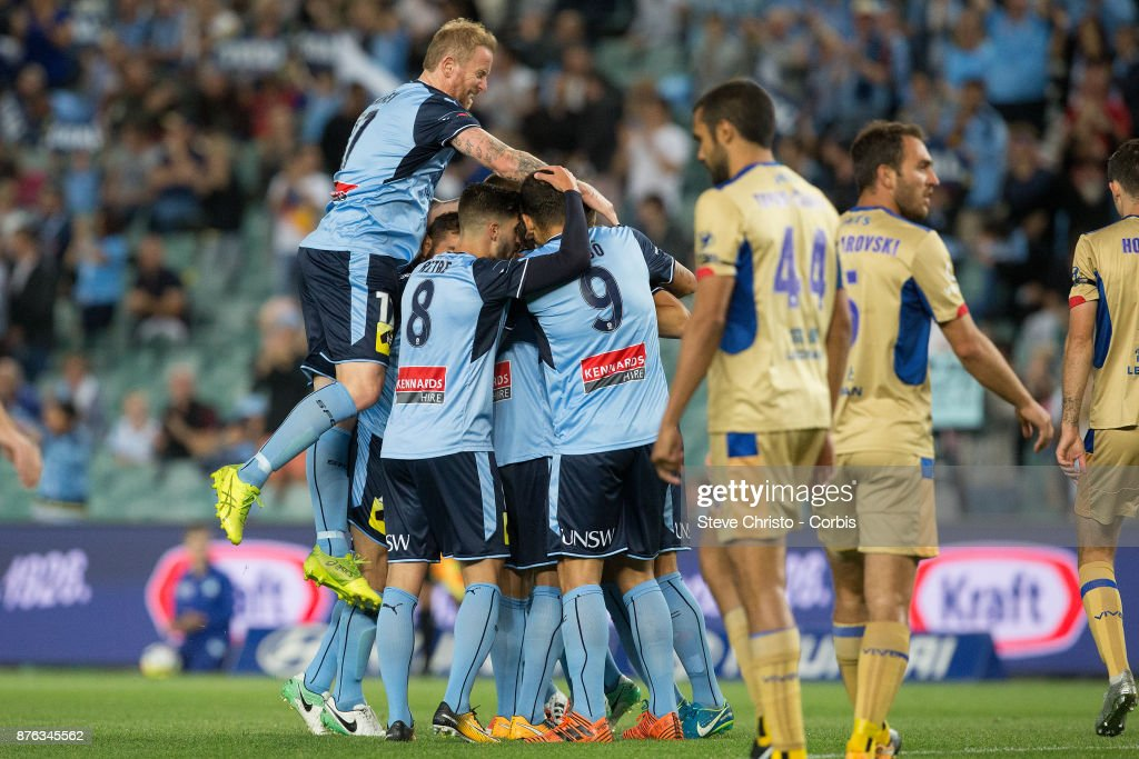 Milos Ninkovic of the Sydney FC celebrates after scoring the first goal during the round seven A-League match between Sydney FC and Newcastle Jets at Allianz Stadium on November 18, 2017 in Sydney, Australia.