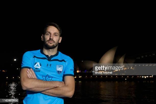 Milos Ninkovic poses for a photo on Sydney Harbour during the Sydney FC 2019/20ALeague Uniform Launch on July 24 2019 in Sydney Australia