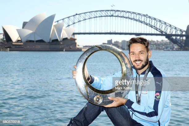 Milos Ninkovic poses with the Hyundai ALeague Championship trophy during a Sydney FC ALeague media opportunity to announce his resigning with the...