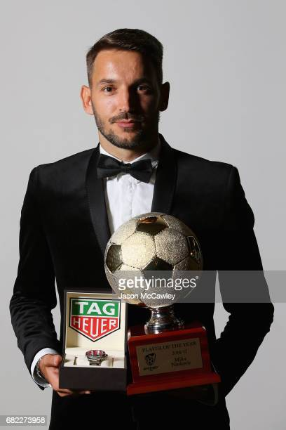 Milos Ninkovic poses with the Hyundai ALeague Player of the Year award the 2017 Sky Blue Ball at Sydney Cricket Ground on May 12 2017 in Sydney...