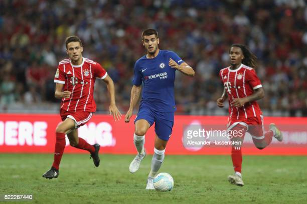 Milos Pantovic of Bayern Muenchen and his team mate Renato Sanches battle for the ball with Alvaro Morata of Chelsea during the International...