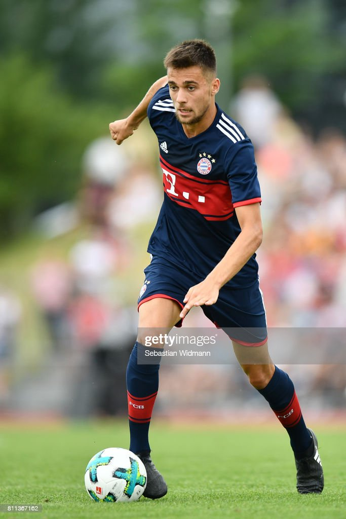 Milos Pantovic of FC Bayern Muenchen plays the ball during the preseason friendly match between FSV Erlangen-Bruck and Bayern Muenchen at Adi Dassler Sportplatz on July 9, 2017 in Herzogenaurach, Germany.