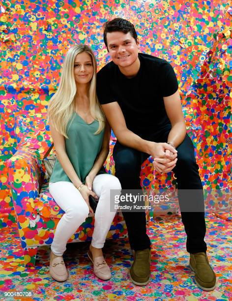 Milos Raonic and his partner Danielle Knudson pose for a photo at the gallery of Modern Art at Southbank during day three of the 2018 Brisbane...