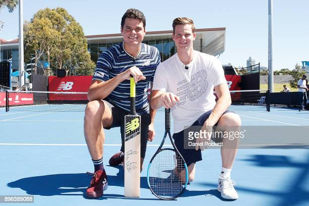 Milos Raonic and Steve Smith pose for a photo during a media opportunity at Melbourne Park on December 21 2017 in Melbourne Australia
