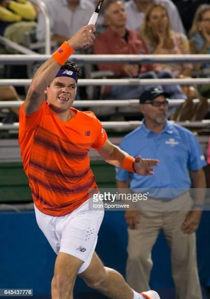 Milos Raonic defeats Juan Martin del Potro during the Semifinals of the ATP Delray Beach Open on February 25 at the Delray Beach Stadium Tennis...