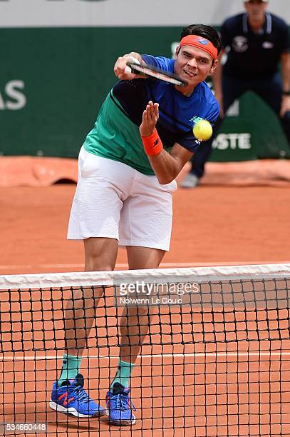 Milos Raonic during the Men's Singles third round on day six of the French Open 2016 at Roland Garros on May 27 2016 in Paris France