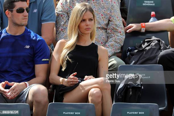 Milos Raonic girlfriend Model Danielle Knudson is spotted at Roland Garros on May 31 2017 in Paris France