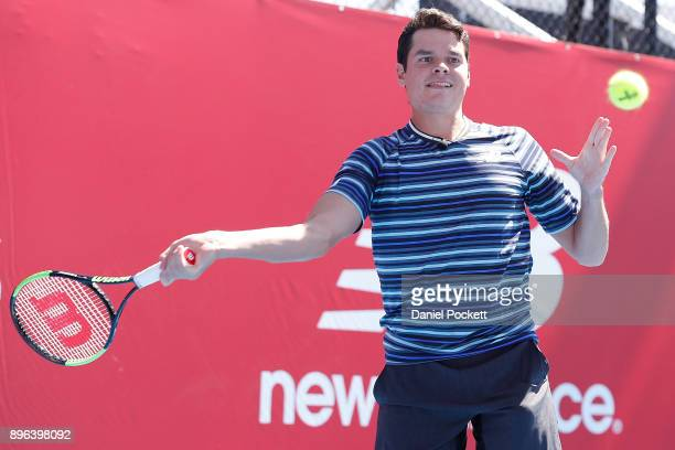 Milos Raonic hits a forehand during a media opportunity at Melbourne Park on December 21 2017 in Melbourne Australia