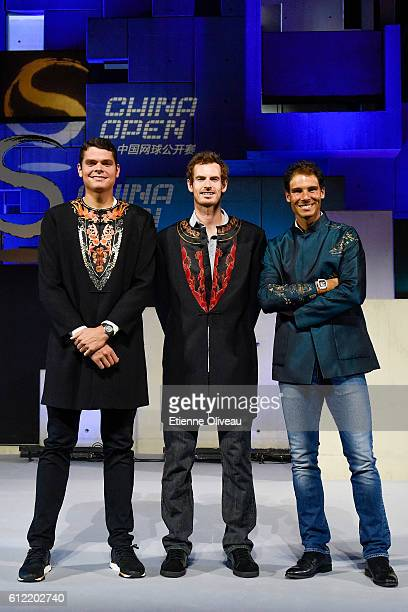 Milos Raonic of Canada Andy Murray of Scotland and Rafael Nadal of Spain pose for a picture during the 2016 China Open Player Party at The Birds Nest...