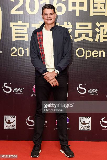 Milos Raonic of Canada arrives at the 2016 China Open Player Party at The Birds Nest on October 3 2016 in Beijing China