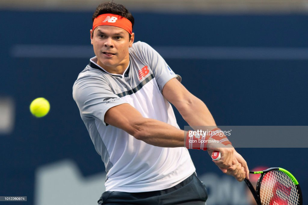 Milos Raonic of Canada battles opponent David Goffin of Belgium in their evening match at the Rogers Cup Monday August 6, 2018 at Aviva Centre in Toronto, Ontario Canada. Raonic won 6-3, 6-4 to advance.