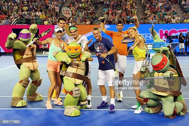 Milos Raonic of Canada Caroline Wozniacki of Denmark Roger Federer of Switzerland Lleyton Hewitt of Australia Victoria Azarenka of Belarus and Novak...