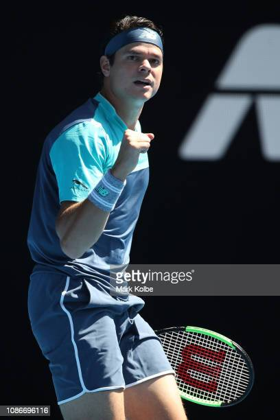 Milos Raonic of Canada celebrates a point in his quarter final match against Lucas Pouille of France during day 10 of the 2019 Australian Open at...