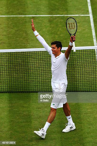 Milos Raonic of Canada celebrates after winning his Gentlemen's Singles quarterfinal match against Nick Kyrgios of Australia on day nine of the...